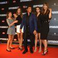 Sylvester Stallone, sa femme Jennifer Flavin et leurs filles à la première d'Expendables 3 à l'UGC Normandie, Paris, le 7 août 2014.