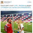 Sébastien Ogier et Andrea Kaiser, ici interviewant Franck Ribéry, se sont mariés en secret au cours de l'été 2014.