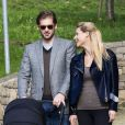 Premiere sortie de Michelle Hunziker et Tomaso Trussardi avec leur fille Sole en Italie, le 24 octobre 2013