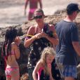 Le top model Kate Moss en vacances à Formentera, en Espagne. Le 12 août 2014.