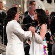 Exclusif - Roberto Alagna et sa compagne la soprano Aleksandra Kurzak lors du concert d'été Summer Dream au profit de la Fondation du prince Albert II de Monaco en faveur de l'environnement, le 9 août 2014 en principauté, dans la cour du palais princier.