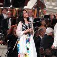 Roberto Alagna et sa compagne la soprano polonaise Aleksandra Kurzak lors du concert d'été Summer Dream au profit de la Fondation du prince Albert II de Monaco en faveur de l'environnement, le 9 août 2014 en principauté, dans la cour du palais princier.