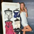 Gisele Bundchen dons a white patterned short dress showing her legs and nude strappy heels as she promotes her new lingerie line in Sao Paulo, Brazil on August 26, 2014. Photo by GSI/ABACAPRESS.COM27/08/2014 - Sao Paulo