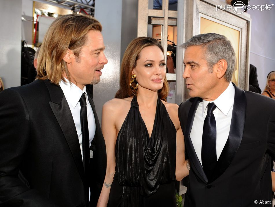 brad pitt et angelina jolie george clooney les f licite avant son mariage purepeople. Black Bedroom Furniture Sets. Home Design Ideas