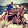 Johnny Hallyday, Laeticia, leurs filles Jade et Joy et leurs amis à Saint-Barthélemy en août 2014