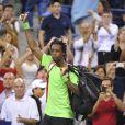 Gaël Monfils lors de son quart de finale face à Roger Federer lors de l'US Open 2014 à New York, le 4 septembre 2014