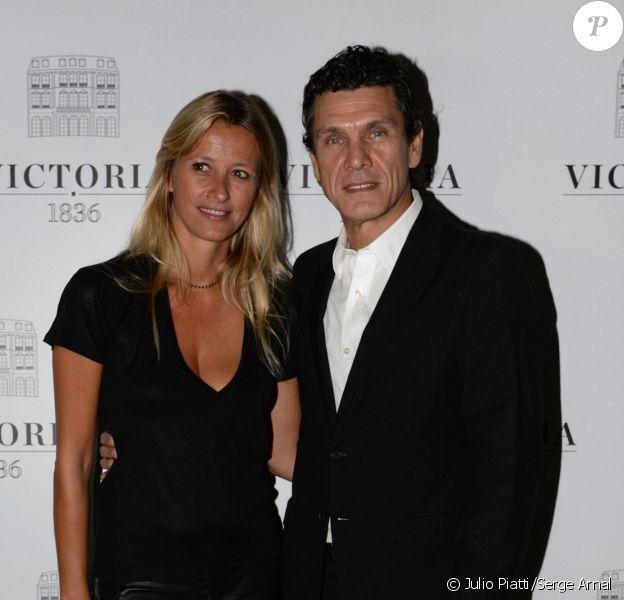 Marc Lavoine et Sarah Lavoine lors de la soirée d'ouverture du Restaurant Victoria 1836 (dont elle a signé la décoration), situé au 12 rue de Presbourg, dans le 16e arrondissement de Paris, le 4 septembre 2014.