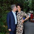 Farida Khelfa et son époux Henri Seydoux à la présentation du documentaire sur Christian Louboutin au cinéma La Pagode à Paris, le 9 septembre 2014. Le film sera diffusé sur Arte le 27 septembre à 22h30.