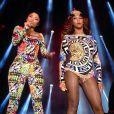 """""""Nicki Minaj rejoint Beyoncé sur scène pour interpréter leur remix de Flawless au Stade de France. Saint-Denis, le 12 septembre 2014."""""""