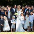 Mariage civil de la présentatrice Sandrine Corman et Michel Bouhoulle (professeur de tennis et consultant sur la RTBF, chaîne de télévision belge) à la mairie de Lasne, près de Bruxelles en Belgique, le 12 septembre 2014.