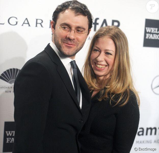 Marc Mezvinsky et sa femme Chelsea Clinton - Soirée de gala Amfar à New York le 5 février 2014