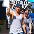 """Channing Tatum sur le tournage du film """"Magic Mike XXL"""" à Savannah, le 2 octobre 2014."""