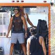 """Channing Tatum, Joe Manganiello et Matt Bomer sur le tournage de """"Magic Mike XXL"""" à Savannah, le 1er octobre 2014.vannah"""