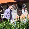 """Joe Manganiello et Channing Tatum sur le tournage du film """"Magic Mike"""" à Savannah, le 30 septembre 2014."""