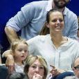 Laure Manaudou et sa fille Manon lors de la finale de l'open 13 de tennis à Marseille le 23 février 2014