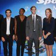 Fabien Gilot, Kevin Rolland, Muriel Hurtis, Pierre Casiraghi, Camille Muffat et Wilson Kipketer lors du 25e Sportel de Monaco le 8 octobre 2014 au Forum Grimaldi