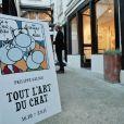 """Illustration - Vernissage de l'exposition """"Tout L'Art Du Chat"""" de Philippe Geluck à la galerie Huberty-Breyne à Paris, le 14 octobre 2014."""