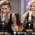 Les amoureux Adixia et Paga dévoilent leur tatouage commun dans l'émission de radio de Mikl sur Fun radio. Octobre 2014.