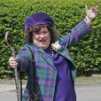 Susan Boyle pose aux jeux West Lothian Highland Games and British Pipe Band Championships à Meadow Park, Bathgate, le 31 mai 2014