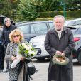 Jean-François Balmer et sa femme Françoise Petit - Obsèques de la comédienne Marie Dubois en l'église de Ville-d'Avray le 22 octobre 2014.