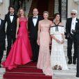 Tatiana Santo Domingo, Andrea Casiraghi, Antoine Arnault, Natalia Vodianova, le prince Albert II de Monaco, la princesse Charlene de Monaco, la princesse Caroline de Hanovre et Karl Lagerfeld lors du Love Ball à Monaco le 27 juillet 2013.
