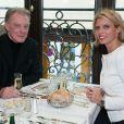 Herbert Leonard et Sylvie Tellier a l'iauguration 'L'Alsace Champs-Elysees' pour sa réouverture à Paris, le 27 octobre 2014.