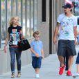 Zlatan Ibrahimovic, sa compagne Helena Seger, et leurs enfants Maximilian et Vincent à New York, le 25 juin 2014