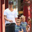 Zlatan Ibrahimovic, sa compagne Helena Seger, et leurs fils Maximilian et Vincent à New York, le 25 juin 2014