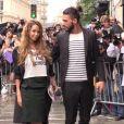 Nabilla Benattia et Thomas Vergara au défilé Jean Paul Gaultier, à Paris le 9 juillet 2014.