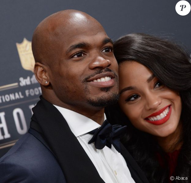 Adrian Peterson, runnning back des Minnesota Vikings, et son épouse Ashley Brown lors d'un gala à New York 1er février 2014