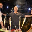 """Semi-Exclusif - Franck Dubosc et Christophe Beaugrand - Franck Dubosc fête son anniversaire avec ses amis et ses fans au """"Réservoir"""" à Paris, le 7 novembre 2014"""