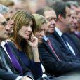Carla Bruni-Sarkozy et Nathalie Kosciusko-Morizet lors du meeting de Nicolas Sakozy à Boulogne-Billancourt le 25 septembre 2014