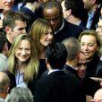 Carla Bruni-Sarkozy et Consuelo Remmert lors du meeting de Nicolas Sakozy à Boulogne-Billancourt le 25 septembre 2014