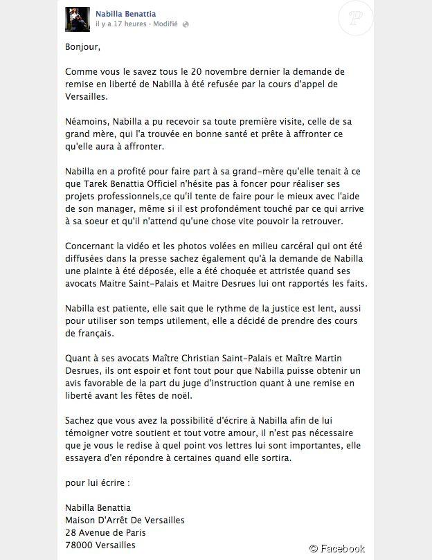 Nabilla : ses proches postent un message pour demander sa libération, sur Facebook, le 4 décembre 2014