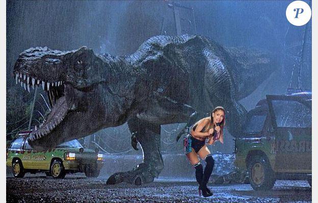 Ariana a peur du T-Rex de Jurrassic Park.