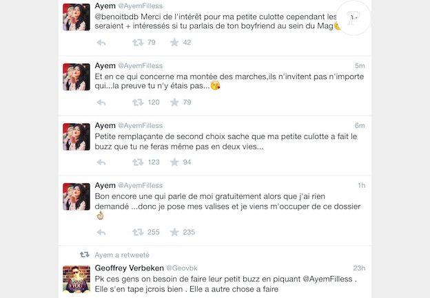 Ayem Nour clashe Caroline Receveur et Nabilla sur Twitter en mai 2014.