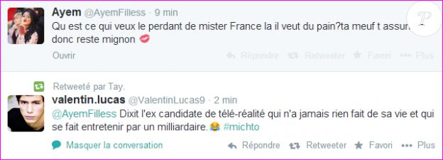 Valentin, le petit ami de Caroline Receveur, clashe Ayem sur Twitter.