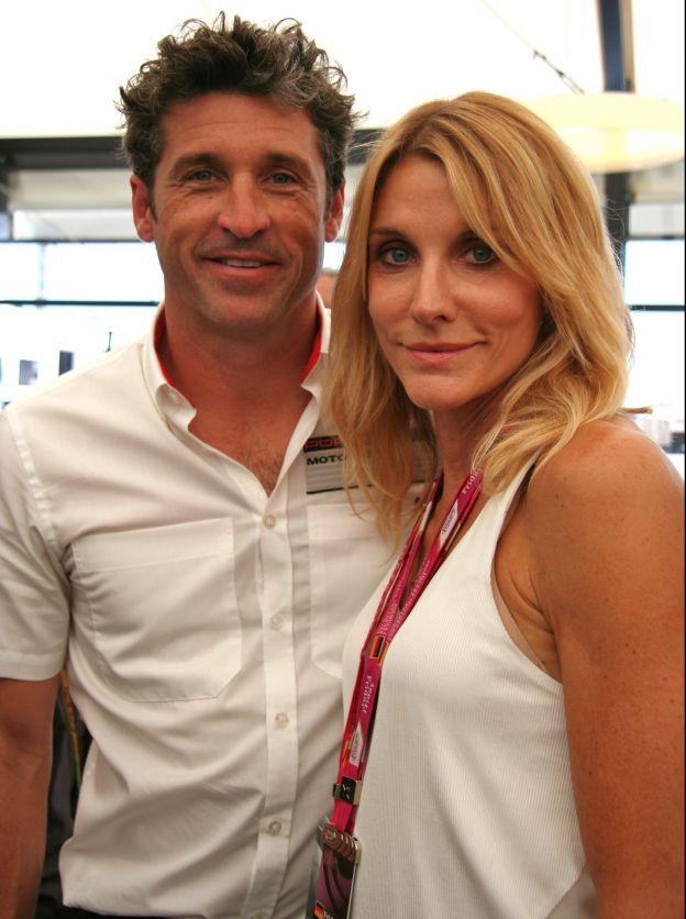 Patrick Dempsey et sa femme Jilian Fink sur le circuit d'Hockenheim, en Allemagne, pour la Porsche Cup 2014 le 18 juillet 2014. ©Abaca Press