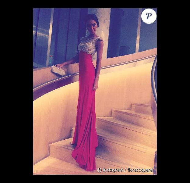 Flora Coquerel absolument parfaite dans cette robe rose. La jeune femme participe au concours Miss Monde. Décembre 2014.