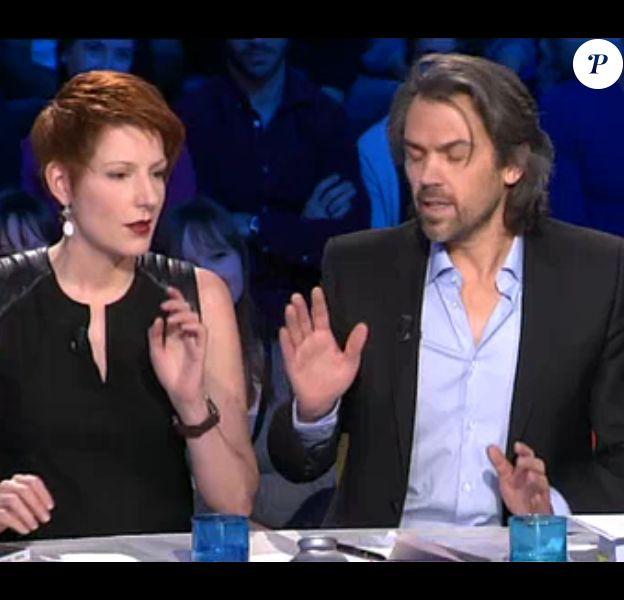 Natacha Polony et Aymeric Caron, polémistes de l'émission On n'est pas couché (samedi 8 mars 2014)