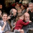 Céline Dion et René Angélil en visitent à Paris avec leur fils, le 8 octobre 2005