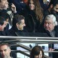 Manuel Valls, Nasser Al-Khelaïfi, Nicolas Sarkozy, Louis Nicollin - People au match PSG-Montpellier lors de la 19e journée de Ligue 1 au Parc des Princes, le 20 décembre 2014.