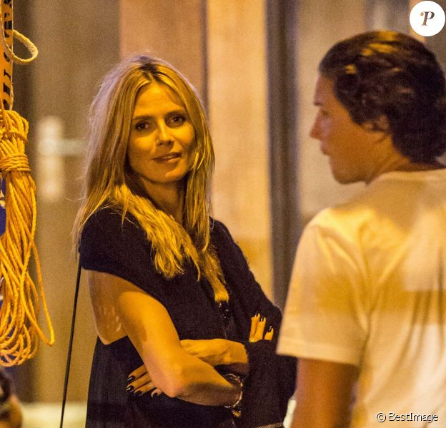 Exclusif - Heidi Klum et son compagnon Vito Schnabel se rendent à une soirée sur un yacht à Saint-Barthélemy, le 29 décembre 2014.