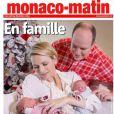 Le prince Albert II de Monaco et la princesse Charlene avec les jumeaux Jacques et Gabriella, nés le 10 décembre 2014, en couverture de Monaco-Matin.