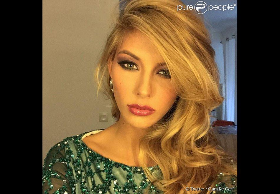 Camille Cerf dévoile son nouveau look pour l'élection de Miss Univers. Janvier 2015.