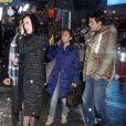 """Katy Perry et John Mayer arrivent aux studios de l'emission """"Good Morning America"""", malgre la neige, a New York. Le 17 decembre 2013"""