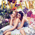 Kylie et Dannii Minogue réunie en couverture de l'édition australienne d'Harper's Bazaar, décembre 2014.