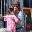 Exclusif - La sympathique Sarah Michelle Gellar passe la journée à la plage avec sa fille Charlotte à Santa Monica, le 20 août 2014