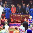 Un moment très émouvant... La princesse Stéphanie et le prince Albert II de Monaco assistaient le 15 janvier 2015 à la soirée d'ouverture du 39e Festival International du Cirque de Monte-Carlo, où une minute de silence a été observée à la mémoire de Kevin Ferrari, jeune artiste de 24 ans de la troupe Flic Flac qui a trouvé la mort quelques heures avant le lever de rideau.