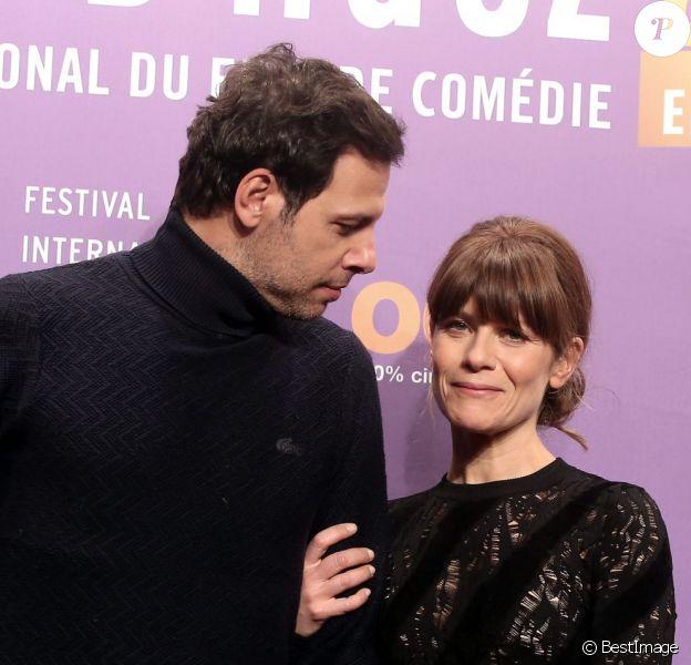 """Laurent Lafitte et Marina Foïs pour le film """"Papa ou Maman"""" - 3e journée du 18e festival international du film de comédie de l'Alpe d'Huez, le 16 janvier 2015."""